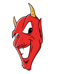 cartoon vector illustration of a devil grinning