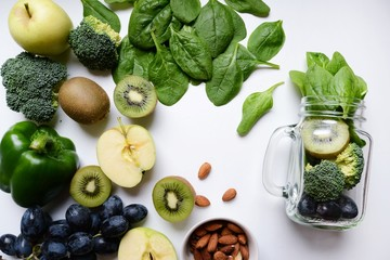 Green Fruits and Vegetables for smoothie