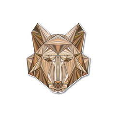 Vector geometric polygonal colorful illustration of a wolf head.