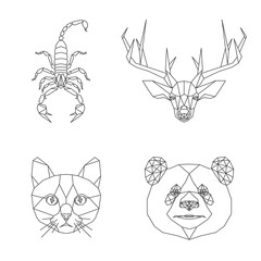 Vector abstract geometric animal polygonal illustration set. Panda bear, cat, deer heads and scorpion.