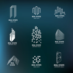 Real Estate labels set. Modern architecture, City Skyline, buildings, skyscrapper, house icons. Vector design.