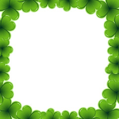 Decorative frame border made of shamrock - Saint Patrick day  card invitation - 17 march