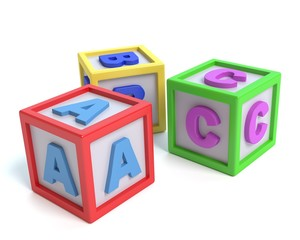 3d illustration of toy alphabet blocks