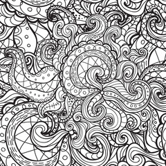 Vector doodle seamless pattern. Coloring book for adult and children.Coloring page. Outline abstract wavy drawing.