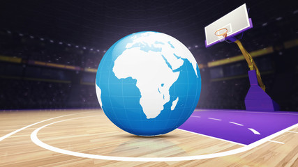 Africa world map on basketball court at arena