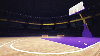 basketball floor court view with basket