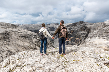 Hiker Couple  in Dolomites of Italy