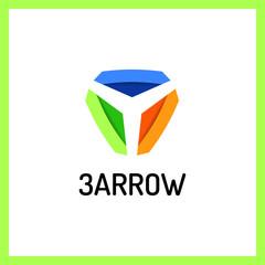Three Arrows Logo. Shadow color
