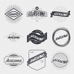 Awesome. Handwritten inscription. Hand drawn calligraphy lettering  typography badge. It can be used for postcards, posters, presentations