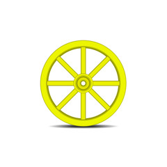 Vintage wooden wheel in yellow design with shadow