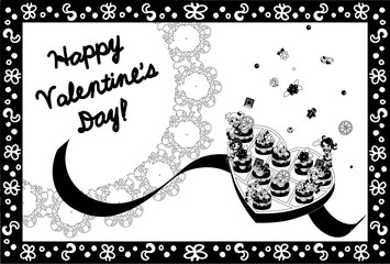 Greeting card of Valentine's Day -Fairies of chocolate-