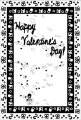Greeting card of Valentine's Day -Writing a letter-