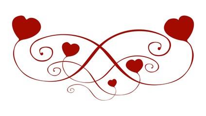 Ornament decorative curved heart handpainted Ornament Wedding Love Valentine - Ornament Deko geschwungene Herzen handgemalt Verzierung Hochzeit Liebe Valentinstag