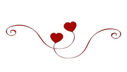 Curving heart handpainted Ornament Valentine's Day Wedding Love  - Geschwungene Herzen handgemalt Verzierung Ornament Valentinstag Hochzeit Liebe