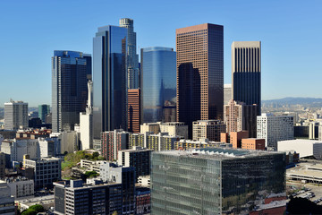Downtown Los Angeles cityscape on a sunny day