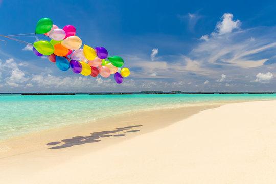 Colorful balloons flying in the wind