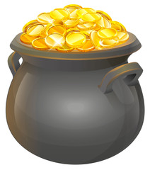 Pot of gold coins. Full cauldron of gold