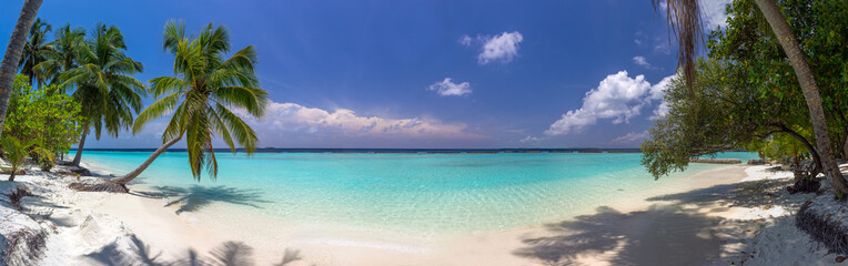 Beach panorama at Maldives with blue sky, palm trees and turquoi Wall mural