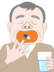 薬を飲む高齢者