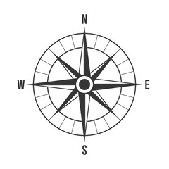 Vector compass, silhouette