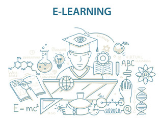Doodle style design concept of e-learning and online education.