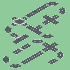 isometric road elements. Vector illustration.