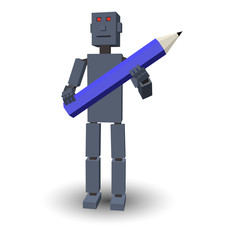 3D robot with pencil. Vector illustration.