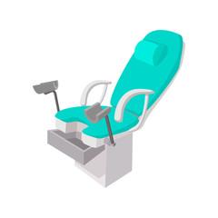 Medical gynecological chair cartoon icon