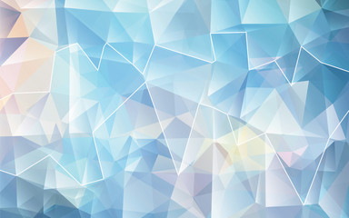 Blue White Polygonal Mosaic Background. Vector illustration. Creative Design. White line can be removed.