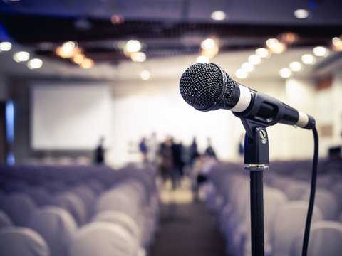 Microphone in Conference room Event Background