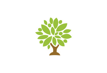 Big oak tree with brown trunk and green leaves crown logo