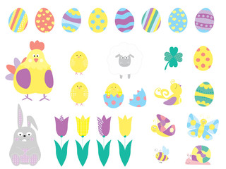 Easter elements collection of flat icons with easter eggs, cute bunny, sheep, tulip, chick / vectors set for children