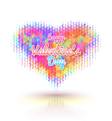 Happy Valentine's Day lettering Greeting Card on heart triangles, vector illustration..