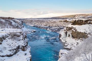 Hraunfossar waterfalls near Reykholt, Iceland
