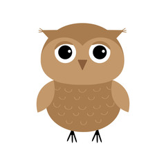 Cute owl bird character. Flat design. Isolated. White background.