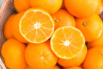 Healthy food, Orange on Basket