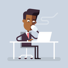 Handsome black man in formal suit is sitting at the desk with a laptop and drinking hot beverage. Cartoon character - businessman. Stock vector illustration in flat design.