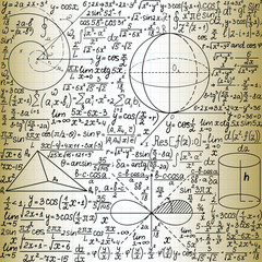 "Beautiful vector seamless pattern with mathematical figures and plots, ""handwritten on the old copybook paper"""