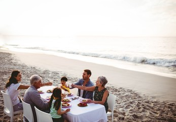 Cute family having dinner