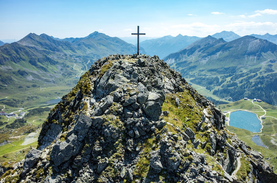 Cross on the top of the peak