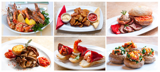 Spanish tapas and pinchos: fried shrimp, roast potatoes (patatas bravas), roast beef, bread with tomatoes (pa amb tomaquet), oyster mushrooms, marinated peppers piquillo, and stuffed mushrooms.