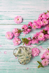 Pink flowers and decorative heart on turquoise  painted wooden p