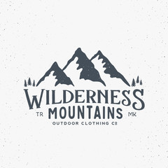 Wilderness Mountains Outdoor Clothing Vintage Vector Sign, Label or Logo Template. With Shabby Texture. Isolated