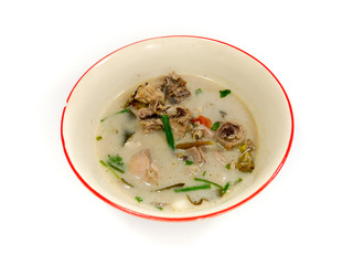 Thai Chicken Soup in Coconut Milk isolated on white background