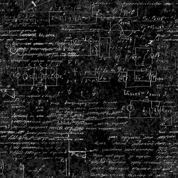Seamless pattern of mathematical operations and elementary functions, endless arithmetic on seamless chalk boards. Handwritten solutions. Geometry, math, physics, electronic engineering subjects.