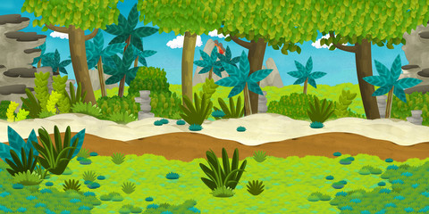 Cartoon illustration - wild island - illustration for the children