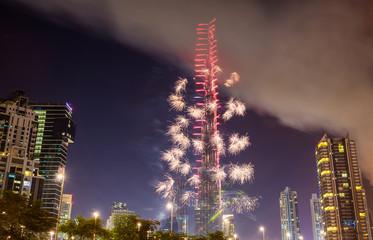 Fireworks from Burj Khalifa on New Year's Eve 2016, Dubai