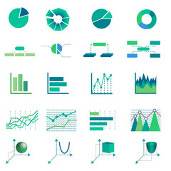 Set of mathematics, business and educational icons