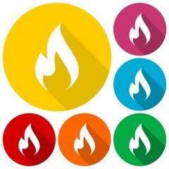 Gas Flame Icons set with long shadow