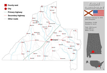 Large and detailed map and infos about Conecuh County in Alabama.